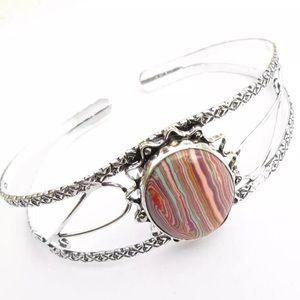 Jewelry - Rainbow🌈 Calsilica Stone adjustable cuff bracelet